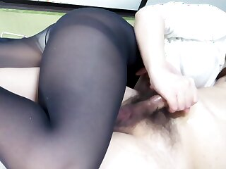 Black Pantyhose Face Sitting Handjob Ejaculation
